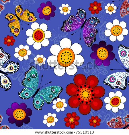 Dark blue floral seamless pattern with flowers and butterflies (vector)