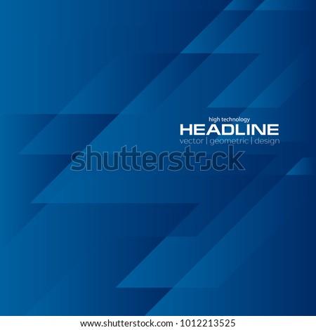 Dark blue geometrical tech abstract background. Vector design