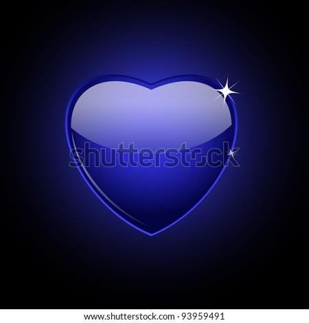 Dark blue glass heart on black, vector illustration, eps10, 2 layers