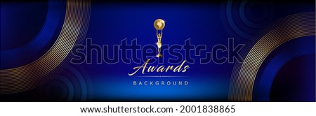 Dark Blue Golden Royal Awards Graphics Background Lines Circle Round Ring Elegant Shine Modern Blended Template  Luxury Premium Corporate Abstract Design Template Banner Certificate Dynamic Shape