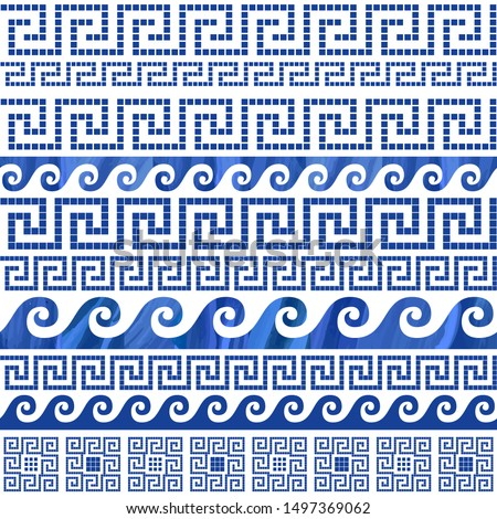 dark blue greek meander