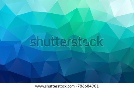 Dark Blue, Green vector blurry triangle template. Triangular geometric sample with gradient.  Triangular pattern for your business design.