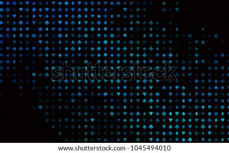 Dark Blue, Green vector layout with elements of cards. Colorful gradient with signs of hearts, spades, clubs, diamonds. Design for ad, poster, banner of gambling websites.