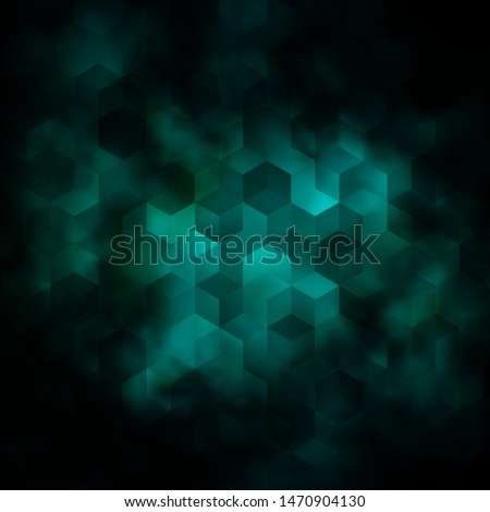 Dark Blue, Green vector layout with hexagonal shapes. Blur background with colorful hexagons. Pattern for your ad, booklets.