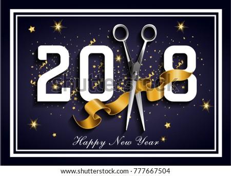 Dark blue 2018 hairdresser, 2018 new happy year #777667504
