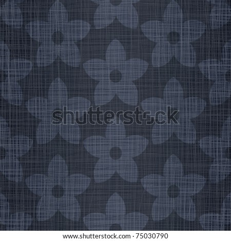 Dark blue jeans linen cotton fabric with drawing flowers
