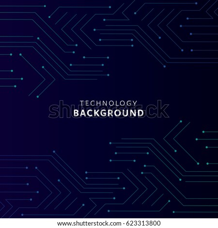 Dark blue minimal  background with technological circuits