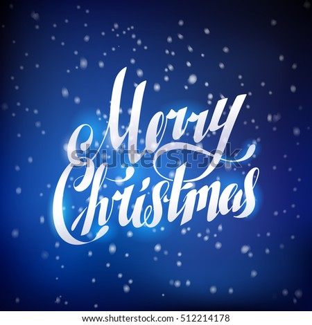Dark Blue Night Snow Merry Christmas Hand Lettering Greeting Card #512214178