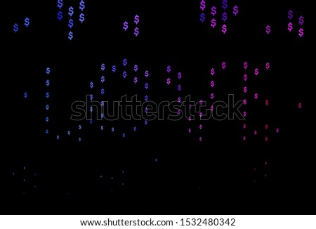 Dark Blue, Red vector background with dollar, USD, usa. Illustration with dollar, USD, usa signs on white template. Template for ads of markets, loans.