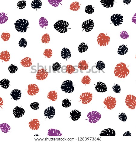 Dark Blue, Red vector seamless natural backdrop with leaves. Brand new colored illustration in blurry style with leaves. Pattern for trendy fabric, wallpapers. #1283973646