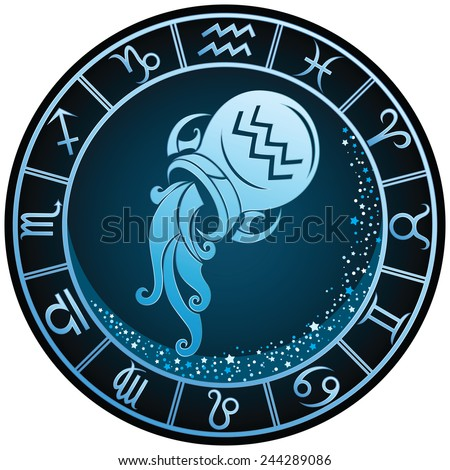 royalty free aquarius zodiac sign in the golden 185143763 stock