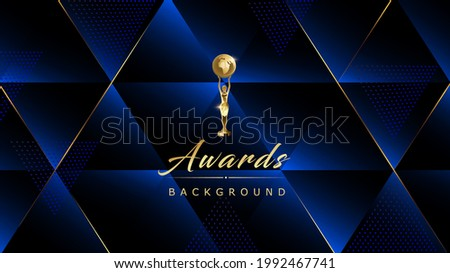 Dark Blue Royal Awards Graphics Background Golden Lines Polygon Triangle Elegant Shine Modern Blended Template Dots Luxury Premium Corporate Abstract Design Template Banner Certificate Dynamic Shape