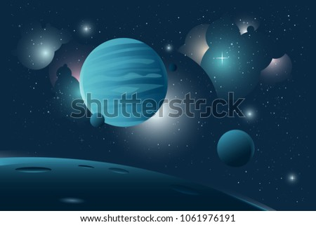 Stock Photo Dark Blue space background with gas giant planet in front. Planet moves quietly in space with his moons around it with stars and nebulas in the background