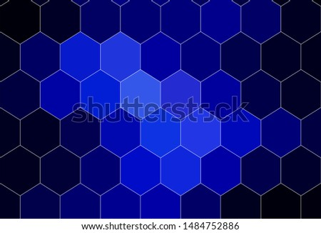 Dark BLUE vector background with hexagons. Colorful hexagons on blur backdrop. Design for website posters, banners.