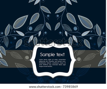 Dark blue vector card with floral pattern
