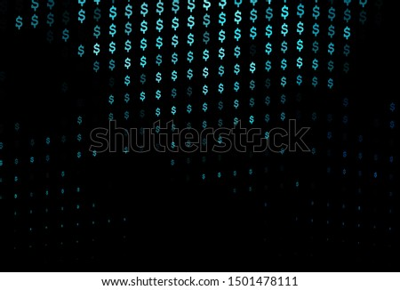 Dark BLUE vector cover with dollar, USD, usa signs. Blurred design in with symbols of dollar, USD, usa. Template for ads of markets, loans.