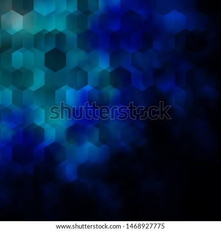 Dark BLUE vector pattern with colorful hexagons. Colorful hexagons on blur backdrop. Design for website posters, banners.