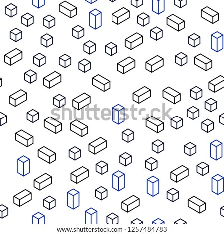 Dark BLUE vector seamless, isometric pattern in square style. Beautiful illustration with rectangles and squares. Template for business cards, websites.