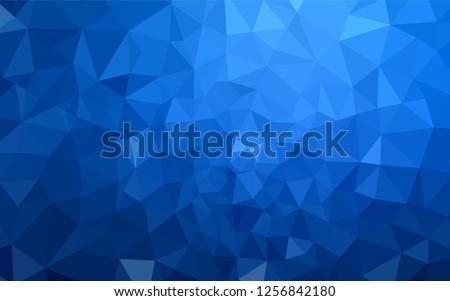 Dark BLUE vector shining triangular backdrop. Triangular geometric sample with gradient.  Best triangular design for your business.
