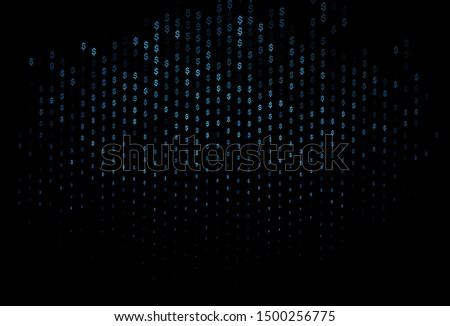 Dark BLUE vector template with dollar, USD, usa. Blurred design in with symbols of dollar, USD, usa. Smart design for your business advert of economic, wealth.