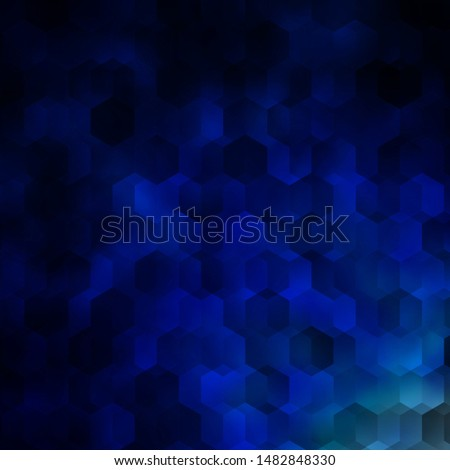 Dark BLUE vector texture with colorful hexagons. Colorful hexagons on blur backdrop. Design for website posters, banners.