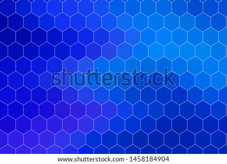 Dark BLUE vector texture with colorful hexagons. Colorful hexagons on blur backdrop. Pattern for landing pages.