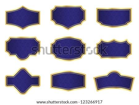 Dark Blue Vine Labels with Texture and Golden Frames