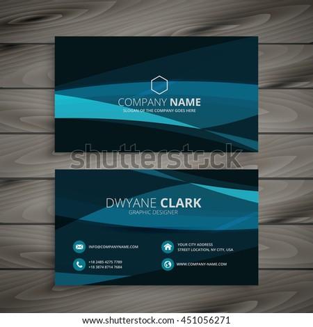 dark blue wave business card