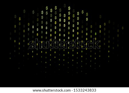 Dark Blue, Yellow vector pattern with dollar, USD, usa. Blurred design in with symbols of dollar, USD, usa. Smart design for your business advert of economic, wealth.