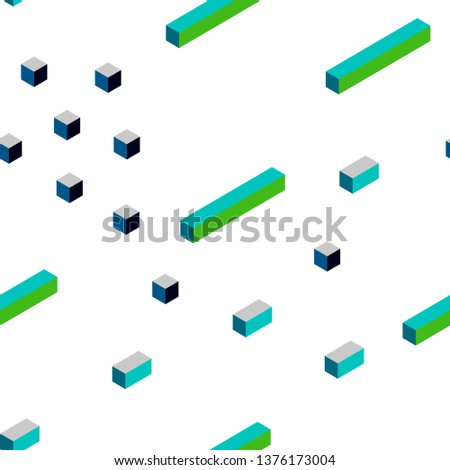 Dark Blue, Yellow vector seamless, isometric background with rectangles. Rectangles on abstract background with colorful gradient. Texture for window blinds, curtains.