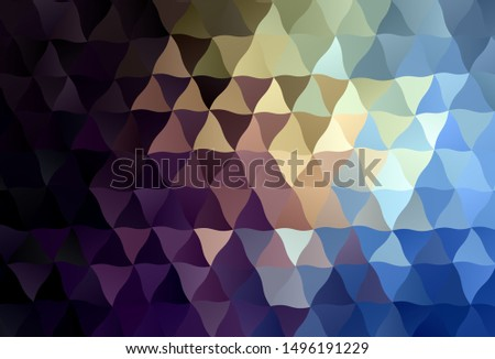 Dark Blue, Yellow vector shining triangular background. Shining polygonal illustration, which consist of triangles. Brand new design for your business.