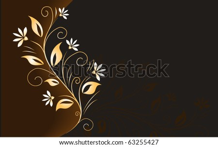 Dark brown background with golden floral element. Use blend, gradients. - stock vector
