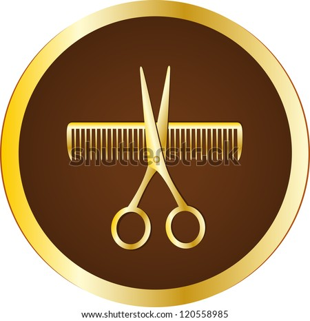 dark brown hairdresser sign with scissors and comb