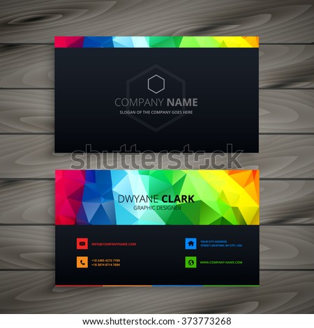 dark business card with abstract colors Foto stock ©