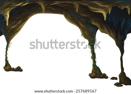 dark cave with vine