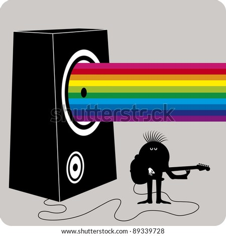 Dark character playing guitar on a big amplifier with a rainbow concept music output