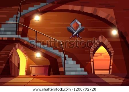 dark dungeon of medieval castle