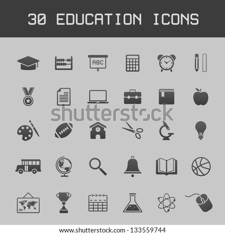 Dark education icon set on grey background vector illustration