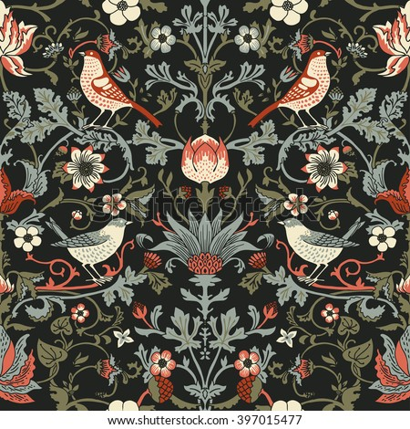 Dark Enchanted Vintage Flowers and Birds seamless pattern vector. Magic forest background.