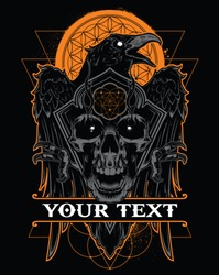 Dark evil raven with spread wings and skull.Vector illustration