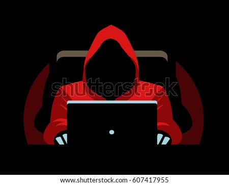 dark faceless hacker using a