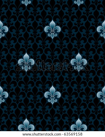 dark fleur-de-lys seamless pattern (vector tileable background)