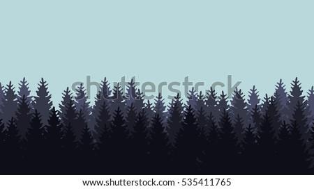 Dark forest silhouette on light blue background - vector illustration