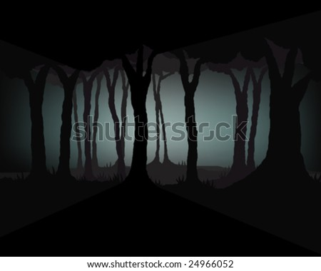 Dark ghostly forest