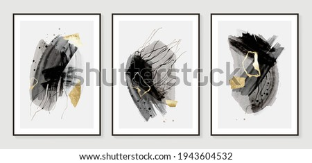 Dark Gold Abstract art background vector. Modern Nature shape line art wallpaper.  Minimalist hand painted illustrations with watercolor stain texture for home deco, wall art.