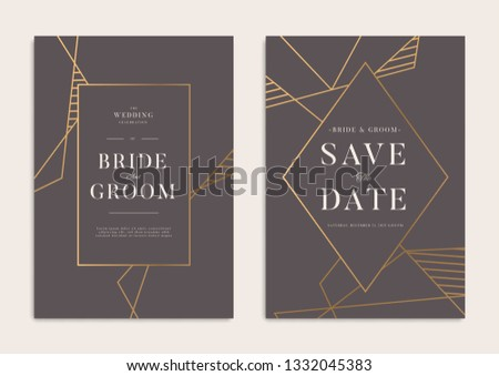 Dark Gold Geometrical Wedding Invitation Template #1332045383