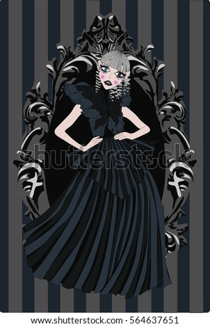 dark gothic doll in black