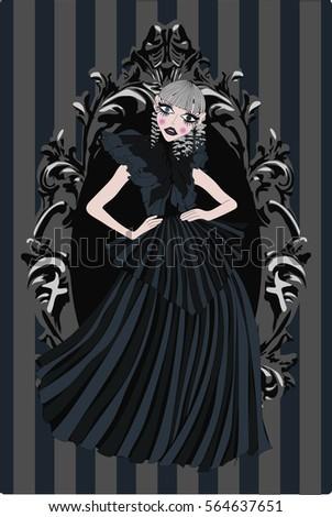 dark gothic doll in black