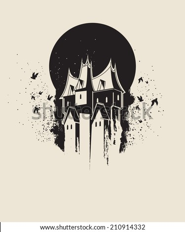 dark gothic house against black