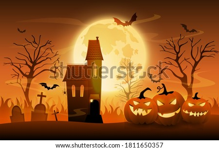 Dark graveyard with creepy pumpkins and haunted house on Halloween night sunset background, cartoon vector ilustration